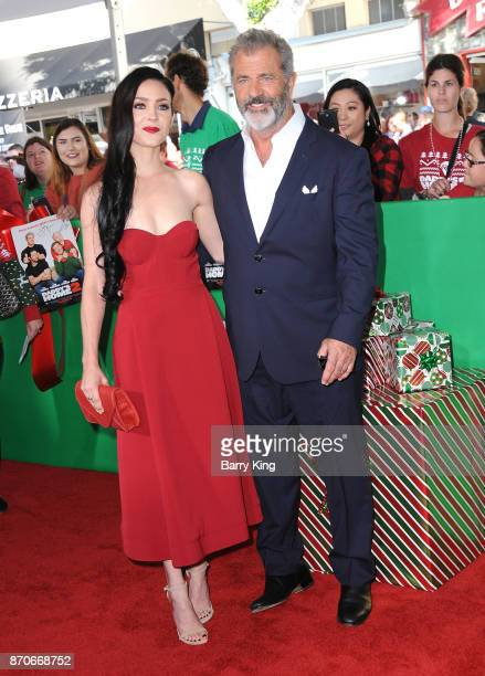 Actor Mel Gibson and Rosalind Ross attend the premiere of Paramount Pictures' 'Daddy's Home 2' at Regency Village Theatre on November 5, 2017 in...