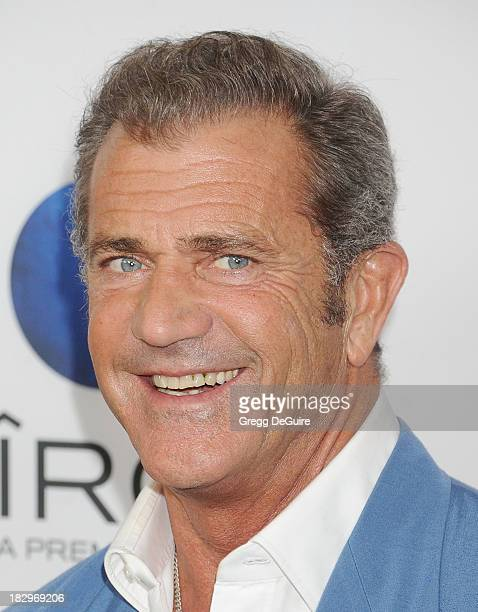 "Actor Mel Gibson arrives at the Los Angeles premiere of ""Machete Kills"" at Regal Cinemas L.A. Live on October 2, 2013 in Los Angeles, California."