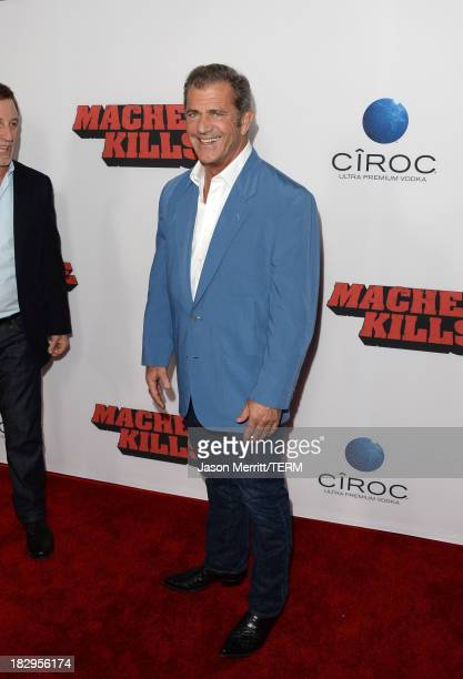 Actor Mel Gibson arrives at the premiere of Open Road Films' Machete Kills at Regal Cinemas LA Live on October 2 2013 in Los Angeles California