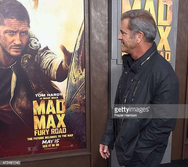 "Actor Mel Gibson arrives at the Premiere Of Warner Bros. Pictures' ""Mad Max: Fury Road"" at TCL Chinese Theatre on May 7, 2015 in Hollywood,..."