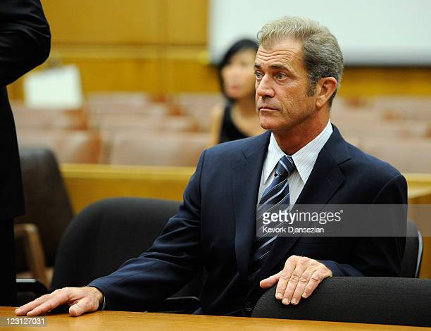 Actor Mel Gibson attends a hearing in a Los Angeles County Courthouse to finalize financial issues between him and his former girlfriend Oksana...