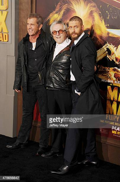 Actor Mel Gibson director George Miller and actor Tom Hardy arrive at the Mad Max Fury Road Los Angeles Premiere at TCL Chinese Theatre IMAX on May 7...