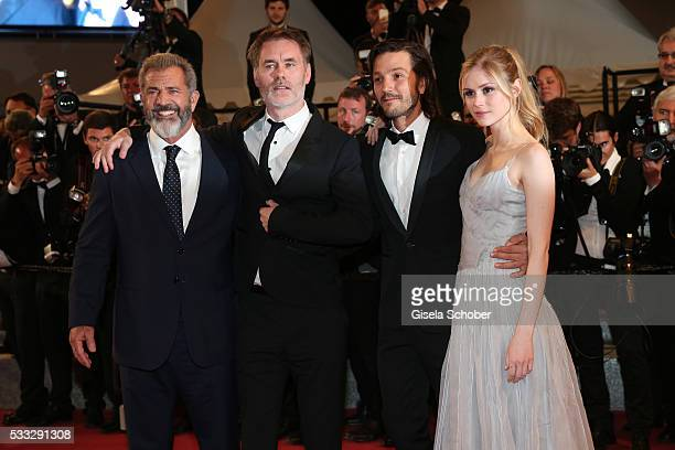 Actor Mel Gibson Director JeanFrancois Richet Actors Diego Luna and Erin Moriarty attend the screening of Blood Father at the annual 69th Cannes Film...