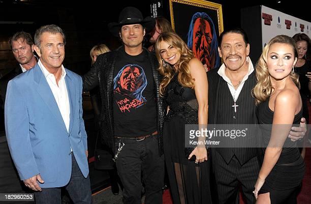 Actor Mel Gibson filmmaker Robert Rodriguez Sofia Vergara Danny Trejo and Alexa Vega arrive at the premiere of Open Road Films' 'Machete Kills' at...