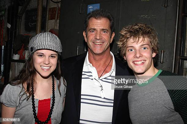 COVERAGE* Actor Mel Gibson poses with actors Alexandra Socha and Hunter Parrish as he visits Spring Awakening on Broadway at the Eugene O'Neill...
