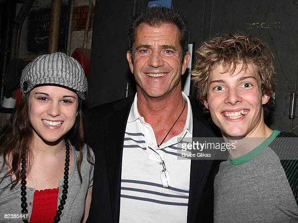 COVERAGE* Actor Mel Gibson poses with actors Alexandra Socha and Hunter Parrish as he visits 'Spring Awakening' on Broadway at the Eugene O'Neill...