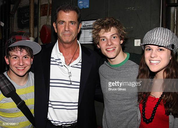 COVERAGE* Actor Mel Gibson poses with stars actors Gerard Canonico Hunter Parrish and Alexandra Socha as he visits Spring Awakening on Broadway at...