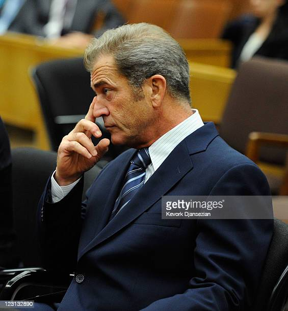 Actor Mel Gibson reacts during a hearing in a Los Angeles Superior Court to finalize financial issues in a longrunning custody battle with former...