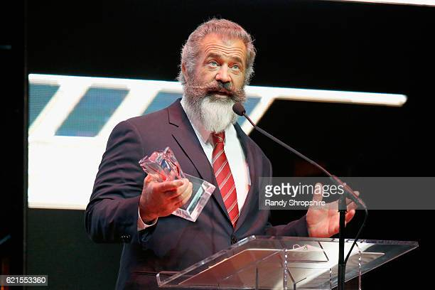 Actor Mel Gibson speaks onstage during the Hamilton Behind The Camera Awards presented by Los Angeles Confidential Magazine at Exchange LA on...