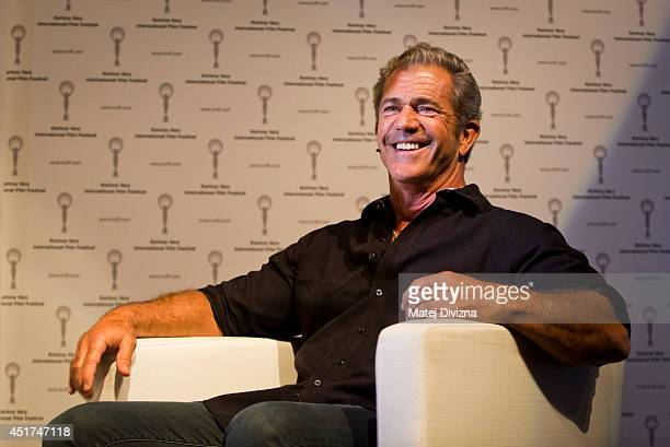 Actor Mel Gibson speaks prior to the shooting of Czech television talkshow at the 49th Karlovy Vary International Film Festival on July 5 2014 in...