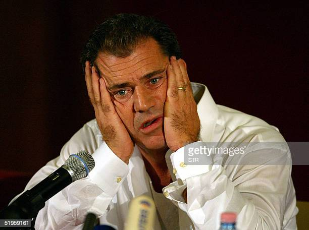 US actor Mel Gibson speaks to the press 20 September 2002 in Rome to announce that he will start to make his first movie as director The Passion...