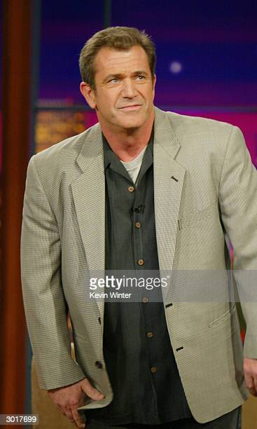 Actor Mel Gibson talks about his new movie The Passion of the Christ with Jay Leno at the Tonight Show with Jay Leno at NBC Studios on February 26...
