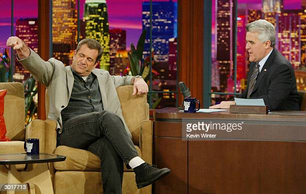 Actor Mel Gibson talks about his new movie 'The Passion of the Christ' with Jay Leno at the Tonight Show with Jay Leno at NBC Studios on February 26...