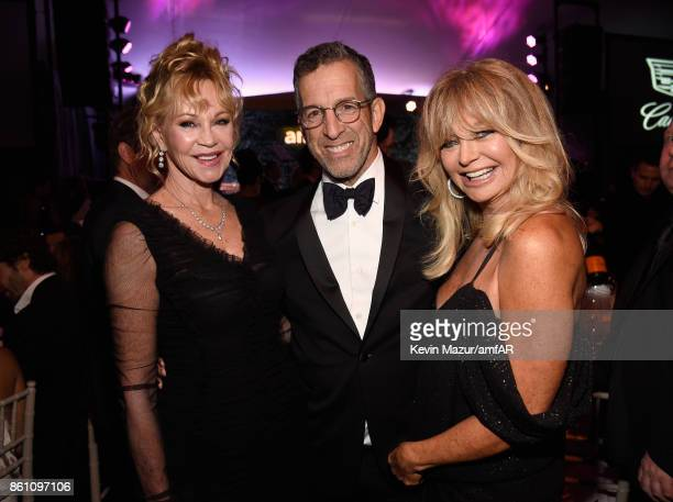 Actor Melanie Griffith fashion designer Kenneth Cole and actor Goldie Hawn attend the amfAR Gala Los Angeles 2017 at Ron Burkle's Green Acres Estate...