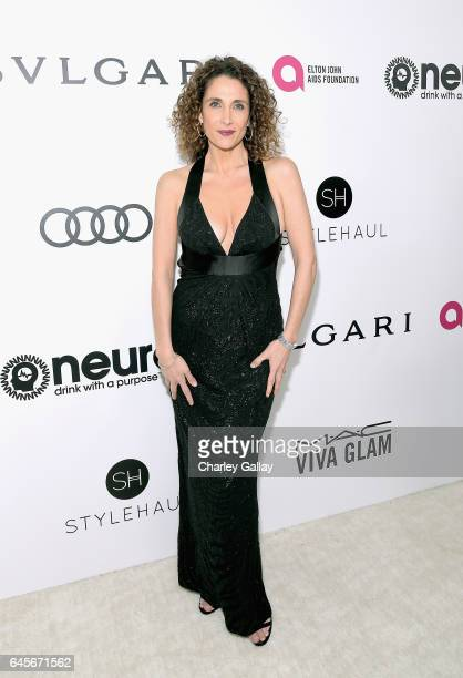 Actor Melina Kanakaredes attends the 25th Annual Elton John AIDS Foundation's Academy Awards Viewing Party with cocktails by Clase Azul Tequila and...