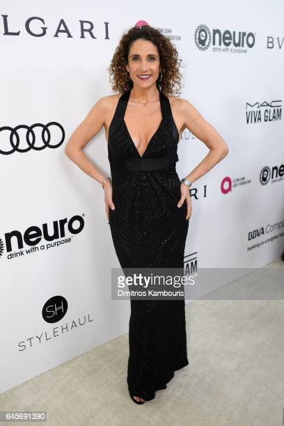 Actor Melina Kanakaredes attends the 25th Annual Elton John AIDS Foundation's Academy Awards Viewing Party at The City of West Hollywood Park on...