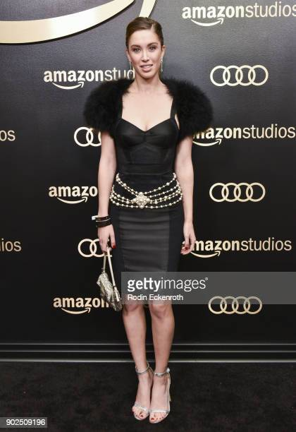 Actor Melissa Bolona arrives at the Amazon Studios Golden Globes Celebration at The Beverly Hilton Hotel on January 7 2018 in Beverly Hills California