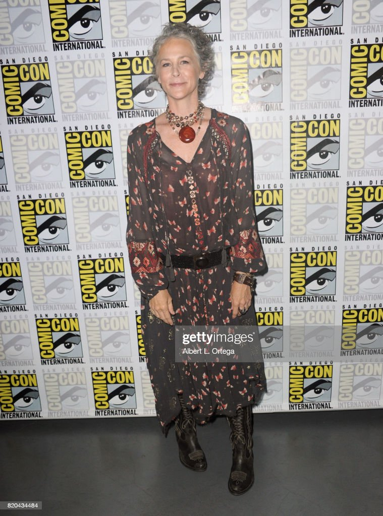 Actor Melissa McBride attends Comic-Con International 2017 AMC's 'The Walking Dead' panel at San Diego Convention Center on July 21, 2017 in San Diego, California.