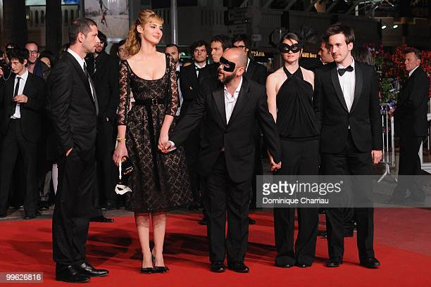 Actor Melvil Poupaud, actress Louise Bourgoin, director Gilles Marchand, actress Pauline Etienne and actor Gregoire Leprince-Ringuet attend the...