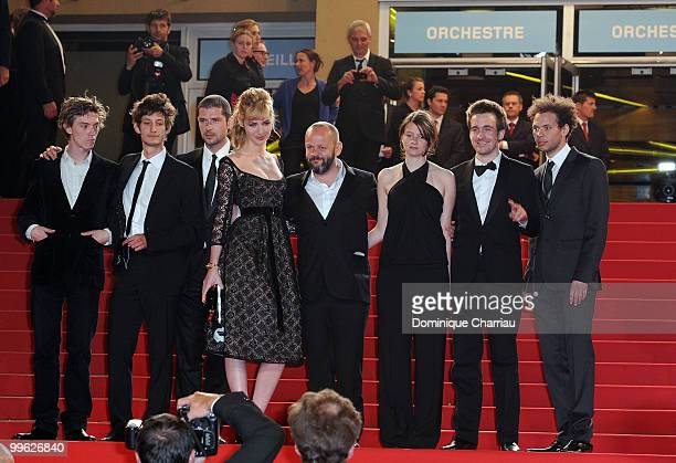 Actor Melvil Poupaud, actress Louise Bourgoin,director Gilles Marchand, actress Pauline Etienne and actor Gregoire Leprince-Ringuet attends the...
