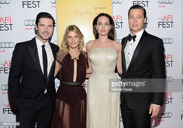 Actor Melvil Poupaud actress Melanie Laurent writerdirectorproduceractress Angelina Jolie Pitt and actorproducer Brad Pitt attend the opening night...