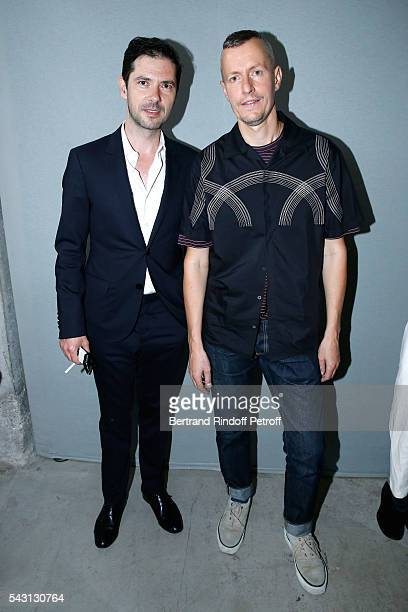 Actor Melvil Poupaud and Stylist Lucas Ossendrijver attend the Lanvin Menswear Spring/Summer 2017 show as part of Paris Fashion Week on June 26, 2016...