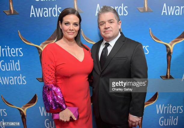 Actor Meredith Salenger and actorcomedian Patton Oswalt attend the 2018 Writers Guild Awards LA Ceremony at The Beverly Hilton Hotel on February 11...