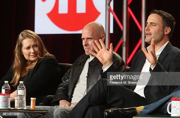 Actor Merritt Wever Paul Schulze and Dominic Fumusa speak onstage during the 'Nurse Jackie Final Season' panel as part of the CBS/Showtime 2015...