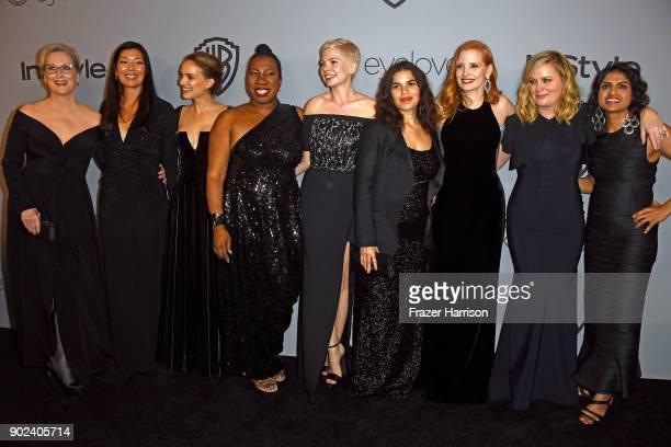 Actor Meryl Streep activist Aijen Poo actor Natalie Portman activist Tarana Burke actor Michelle Williams actor America Ferrera actor Jessica...