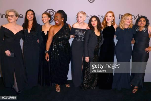 Actor Meryl Streep activist Aijen Poo actor Natalie Portman activist Tarana Burke actors Michelle Williams America Ferrera Jessica Chastain Amy...