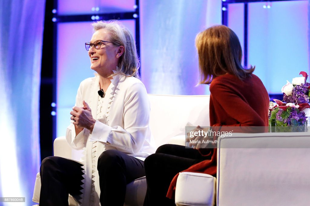 Actor Meryl Streep (L) and activist Gloria Steinem speak during the Massachusetts Conference for Women 2017 at the Boston Convention Center on December 7, 2017 in Boston, Massachusetts.