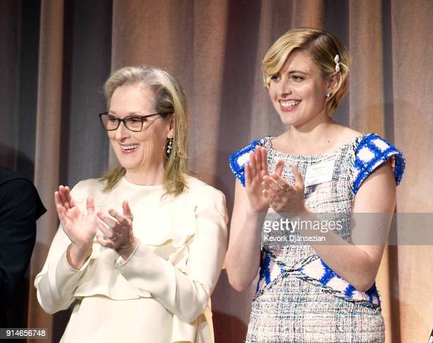 Actor Meryl Streep and director Greta Gerwig attend the 90th Annual Academy Awards Nominee Luncheon at The Beverly Hilton Hotel on February 5 2018 in...