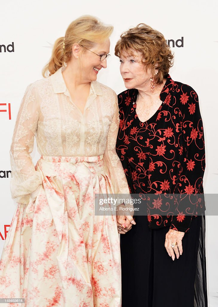 Actor Meryl Streep and honoree Shirley MacLaine arrive at the 40th AFI Life Achievement Award honoring Shirley MacLaine held at Sony Pictures Studios on June 7, 2012 in Culver City, California. The AFI Life Achievement Award tribute to Shirley MacLaine will premiere on TV Land on Saturday, June 24 at 9PM