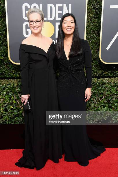 Actor Meryl Streep and NDWA Director Aijen Poo attend The 75th Annual Golden Globe Awards at The Beverly Hilton Hotel on January 7 2018 in Beverly...