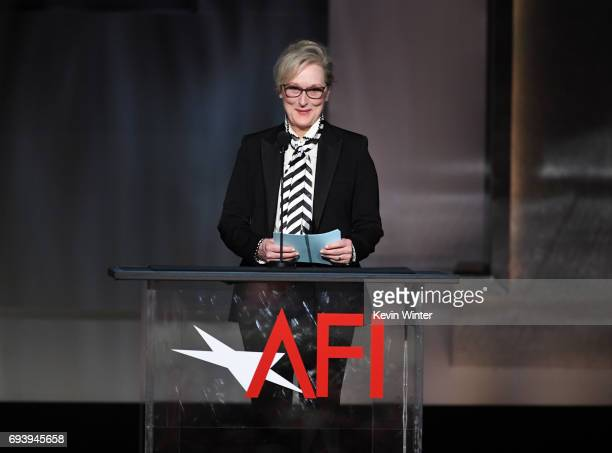 Actor Meryl Streep speaks onstage during American Film Institute's 45th Life Achievement Award Gala Tribute to Diane Keaton at Dolby Theatre on June...
