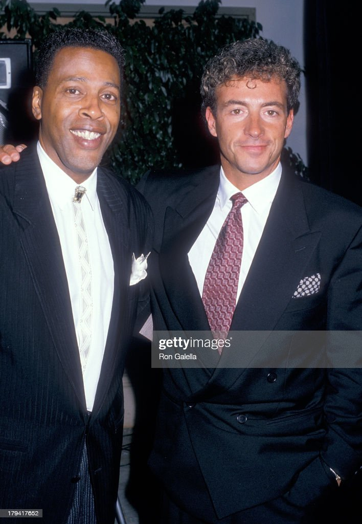 Actor Meshach Taylor and actor Ray Sharkey attend the Fourth Annual Viewers for Quality Television Awards on September 17, 1988 at the Beverly Garland Hotel in North Hollywood, California.