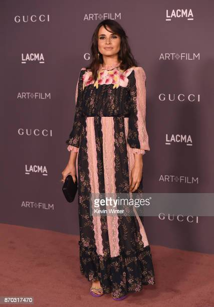 Actor Mia Maestro wearing Gucci attends the 2017 LACMA Art Film Gala Honoring Mark Bradford And George Lucas at LACMA on November 4 2017 in Los...