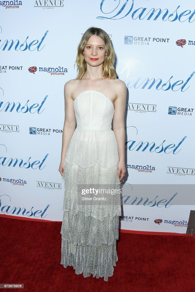 Actor Mia Wasikowska attend Magnolia Pictures' 'Damsel' premiere at ArcLight Hollywood on June 13, 2018 in Hollywood, California.