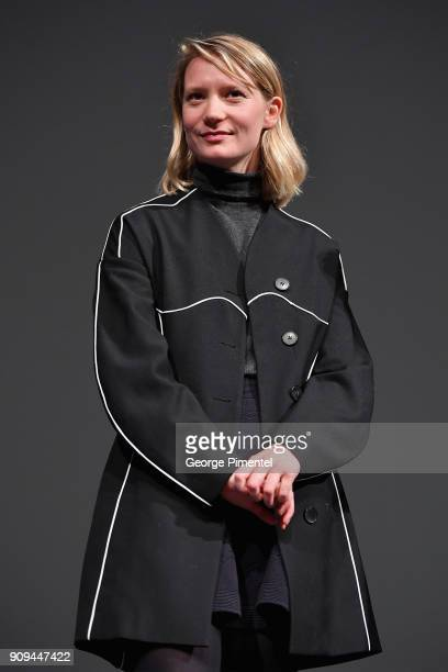 Actor Mia Wasikowska speaks onstage during the Damsel Premiere during the 2018 Sundance Film Festival at Eccles Center Theatre on January 23 2018 in...