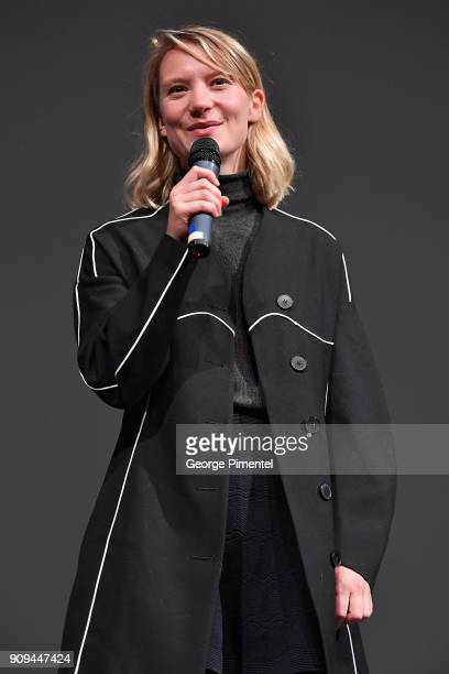 Actor Mia Wasikowska speaks onstage during the 'Damsel' Premiere during the 2018 Sundance Film Festival at Eccles Center Theatre on January 23 2018...