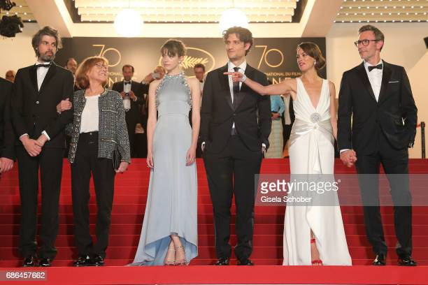 Actor Micha Lescot actress Anne Wiazemsky actress Stacy Martin actor Louis Garrel actress Berenice Bejo and director Michel Hazanavicius attend the...