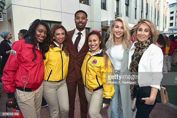 Actor Michael B Jordan actress Julianne Hough and City Year Los Angeles Board Vice Chair Stacey Snider with City Year AmeriCorps members attend City...