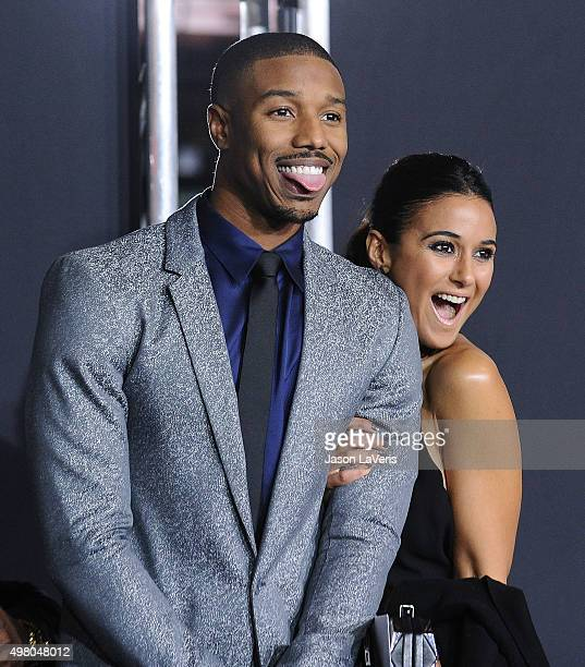 Actor Michael B Jordan and actress Emmanuelle Chriqui attend the premiere of Creed at Regency Village Theatre on November 19 2015 in Westwood...