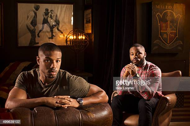 Actor Michael B Jordan and director Ryan Coogler of 'Creed' are photographed for Los Angeles Times on October 8 2015 in Los Angeles California...