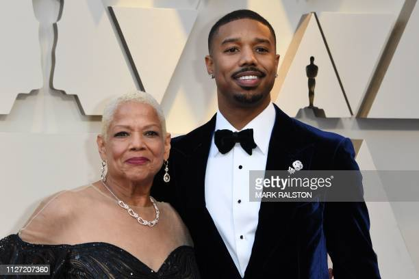 US actor Michael B Jordan and Donna Jordan arrive for the 91st Annual Academy Awards at the Dolby Theatre in Hollywood California on February 24 2019