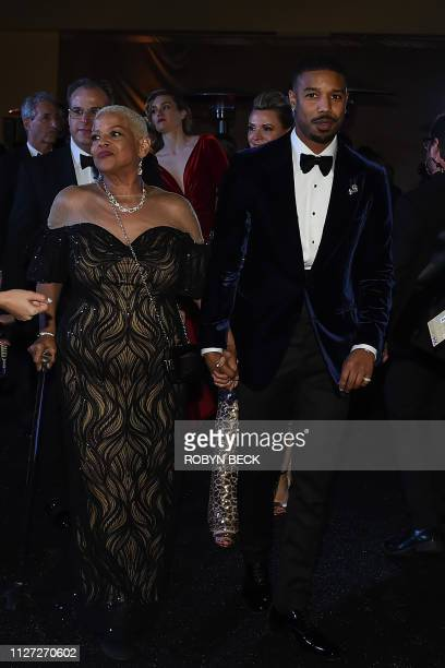 US actor Michael B Jordan and his mother Donna Jordan attend the 91st Annual Academy Awards Governors Ball at the Hollywood Highland Center in...