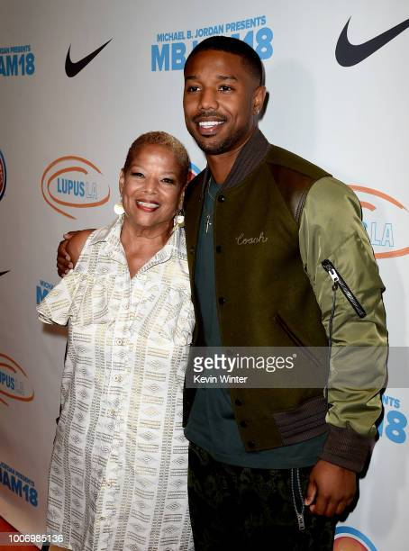 Actor Michael B Jordan and his mother Donna Jordan attend the Michael B Jordan and Lupus 2nd Annual LA MBJAM18 event at Dave and Busters on July 28...