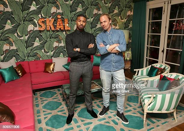 Actor Michael B Jordan and Jonas Tahlin CEO Absolut Elyx attend Michael B Jordan's birthday at the private residence of Jonas Tahlin CEO Absolut Elyx...