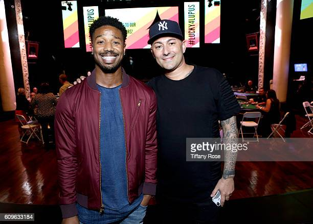 Actor Michael B Jordan and msuician Dennis DeSantis attend the Get Lucky for Lupus LA Celebrity Poker Tournament at Avalon on September 21 2016 in...