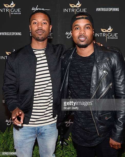 Actor Michael B Jordan and television personality/actor Steelo Brim arrive at the grand opening of Intrigue Nightclub at Wynn Las Vegas on April 29...